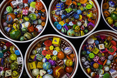 Bowls Of Marbles Dice And Buttons Print by Garry Gay
