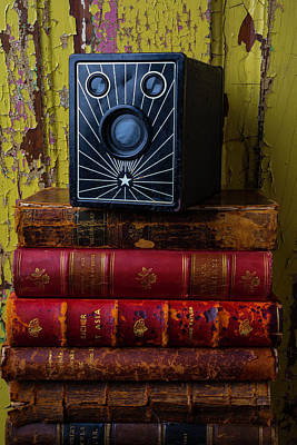 Box Camera And Books Print by Garry Gay