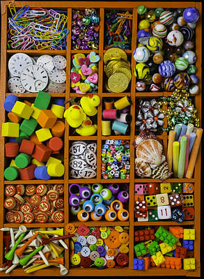 Box Full Of Colorful Objects Print by Garry Gay