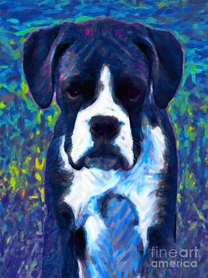 Bulldog Art Digital Art - Boxer 20130126v5 by Wingsdomain Art and Photography