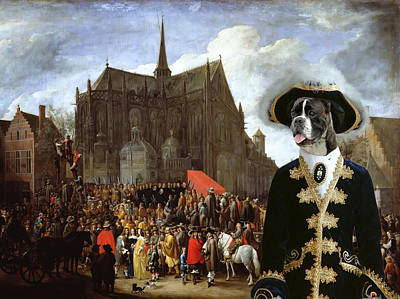 Boxer Painting - Boxer Art Canvas Print - Waiting For The Statue Of Mary by Sandra Sij