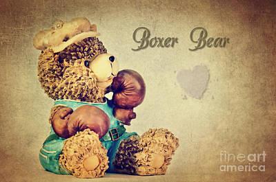 Teddy Bear Mixed Media - Boxer Bear by Angela Doelling AD DESIGN Photo and PhotoArt