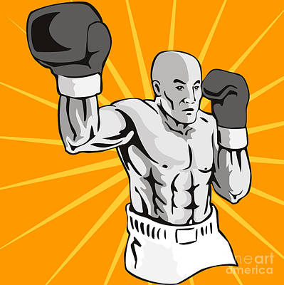 Muscular Digital Art - Boxer Boxing Knockout Punch Retro by Aloysius Patrimonio