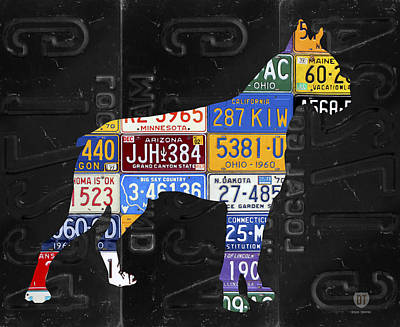 Dog Owner Mixed Media - Boxer Dog Pet Owner Love Vintage Recycled License Plate Artwork by Design Turnpike