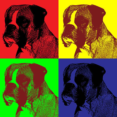 Boxer Dog Digital Art - Boxer Dog Pop Art Style by James Bryson