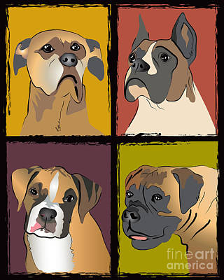 Boxer Dog Digital Art - Boxer Dog Portraits by Robyn Saunders