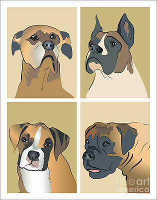Puppies Digital Art - Boxer Dogs 4 Up by Robyn Saunders