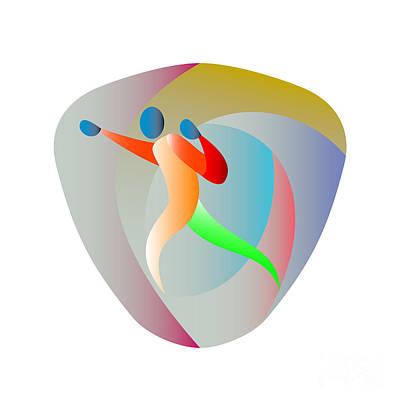 Jab Digital Art - Boxer Jabbing Triangle Retro by Aloysius Patrimonio