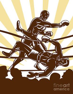 Boxer Knocking Out Print by Aloysius Patrimonio