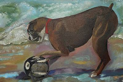 Dog Playing Ball Painting - Boxer On Beach by Jan Dappen