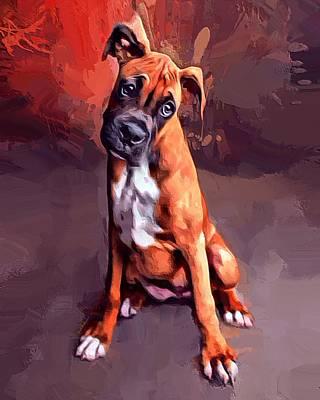 Boxer Digital Art - Boxer Pup Portrait  by Scott Wallace