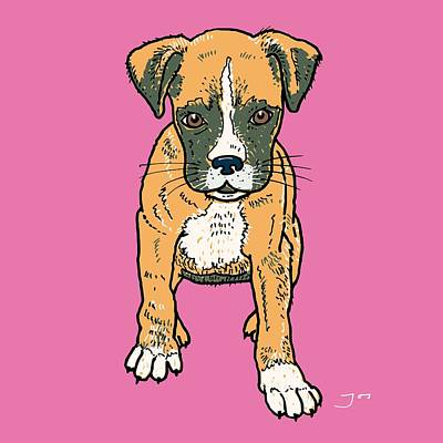 Boxer Dog Art Drawing - Boxer Puppy by Pets Portraits