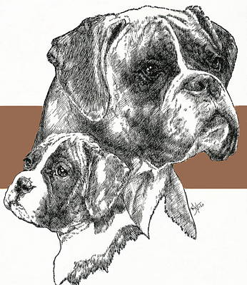 Boxer -uncropped- Father And Son Print by Barbara Keith