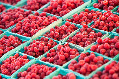 In A Row Photograph - Boxes Of Raspberries by Todd Klassy