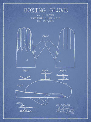 Glove Drawing - Boxing Glove Patent From 1878 - Light Blue by Aged Pixel