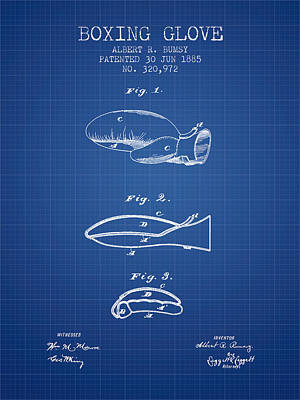 Glove Drawing - Boxing Glove Patent From 1885 - Blueprint by Aged Pixel