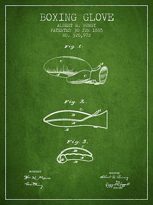 Glove Drawing - Boxing Glove Patent From 1885 - Green by Aged Pixel
