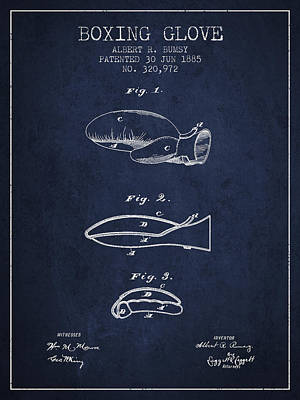 Glove Drawing - Boxing Glove Patent From 1885 - Navy Blue by Aged Pixel