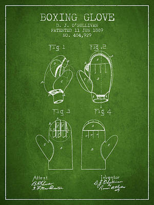 Glove Drawing - Boxing Glove Patent From 1889 - Green by Aged Pixel
