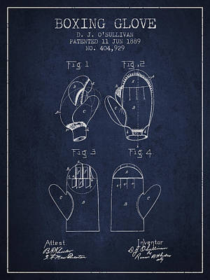 Glove Drawing - Boxing Glove Patent From 1889 - Navy Blue by Aged Pixel