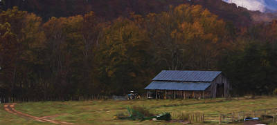 Buffalo River Painting - Boxley Valley Farm by Jonas Wingfield