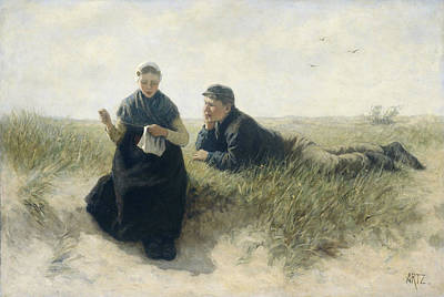 Adolph Painting - Boy And Girl In The Dunes by Adolph Artz
