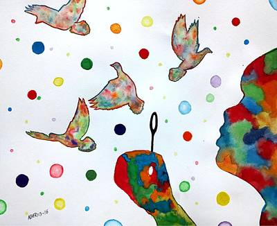 Boy Blowing Soap Bubbles And Doves Print by Edwin Alverio