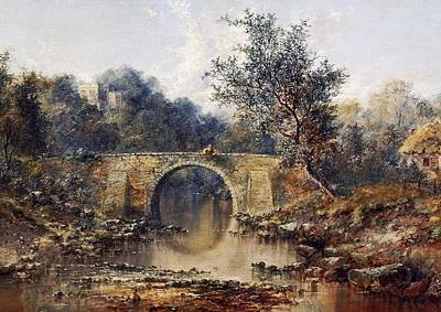 Boy Fishing From A Bridge Print by William Gosling