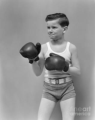 Boys Boxing Photograph - Boy In Boxing Gear, C.1940s by H. Armstrong Roberts/ClassicStock