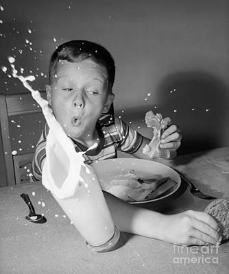 Boy Knocking Over Milk, C.1960s Print by Debrocke/ClassicStock