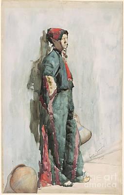 Boy Leaning Against A Wall Print by Giuseppe Signorini