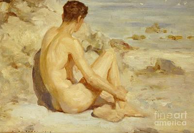 Beach Model Painting - Boy On A Beach by Henry Scott Tuke