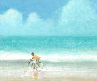 Wet On Wet Drawing - Boy On A Bike by Lincoln Seligman