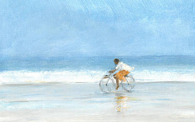 Wet On Wet Drawing - Boy On A Bike  One by Lincoln Seligman