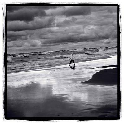 Indiana Photograph - Boy On Shoreline by Steve Gadomski