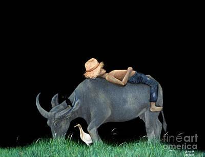 Painting - Boy Sleeping On Buffalo Back by Fine art Photographs
