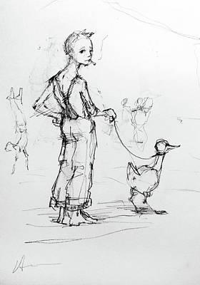 Goose Drawing - Boy Walking Goose by H James Hoff