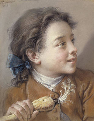 Carrot Pastel - Boy With A Carrot, 1738 by Francois Boucher