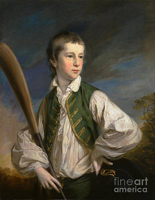 Boy With A Cricket Bat   Print by Celestial Images