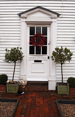 Boyden Gate House With Red Wreath Print by Nancy Clendaniel