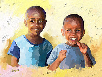 Africa Painting - Boys by Anthony Mwangi