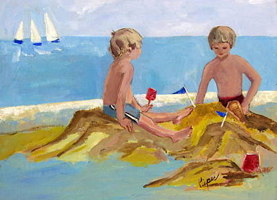 Sand Castles Painting - Boys At The Beach by Betty Pieper