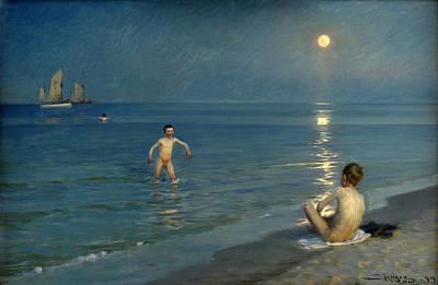 Boys Bathing At Skagen. Summer Evening Print by Peder Severin Kroyer