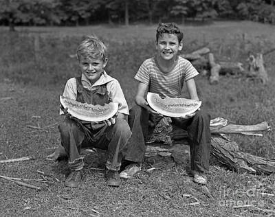 Watermelon Photograph - Boys Eating Watermelons, C.1940s by H. Armstrong Roberts/ClassicStock
