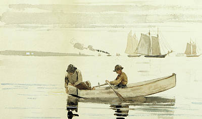 Boat Drawing - Boys Fishing, Gloucester Harbor, 1880  by Winslow Homer