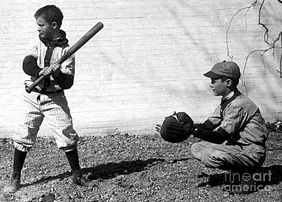 Boys Playing Baseball, 1923 Print by Science Source