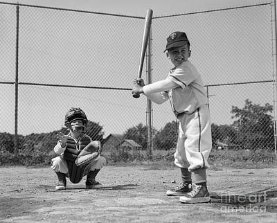 Bat Boy Photograph - Boys Playing Baseball, C. 1960s by H. Armstrong Roberts/ClassicStock