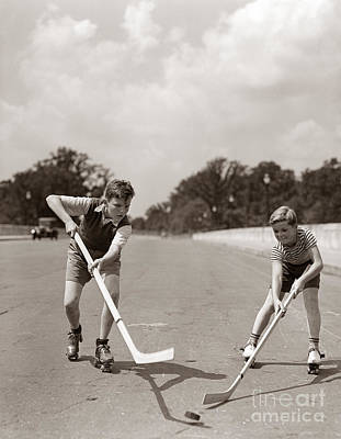 Boys Playing Street Hockey, C. 1930s Print by H. Armstrong Roberts/ClassicStock