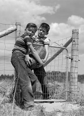 Watermelon Photograph - Boys Stealing A Watermelon, C.1950s by H. Armstrong Roberts/ClassicStock
