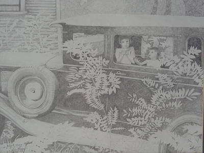 A Hot Summer Day Drawing - Happy's 2002 Boys With Dove In Model A by Happy Byrd